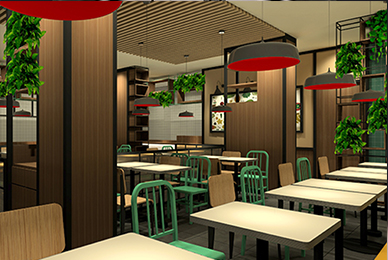 尚班族城市快餐店餐饮空间设计