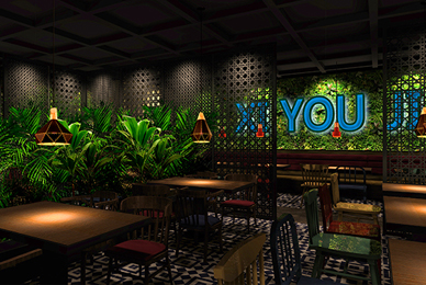 深圳生态餐厅设计_溪游记原生态餐厅空间