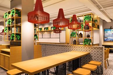 汕尾连锁特色小吃店设计_过桥米线餐饮室内装修设计